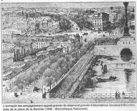 L'entrepôt des sels, également appelé grenier de réserve et grenier d'abondance, boulevard Bourdon près de la Bastille (1846 - Bibliothèque Nationale)