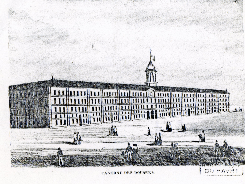 La caserne des Douanes en 1847.