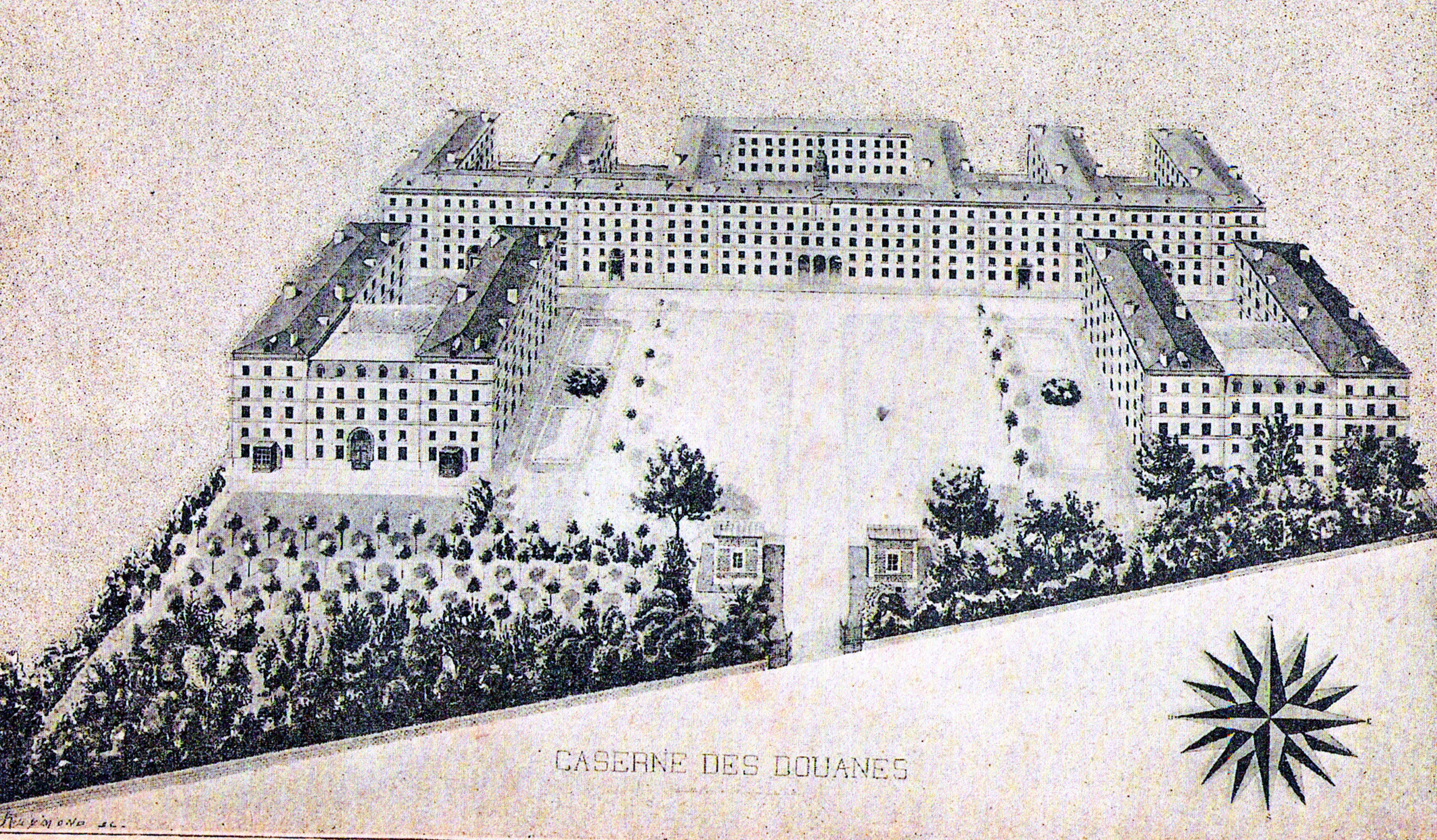 La caserne vers 1860.