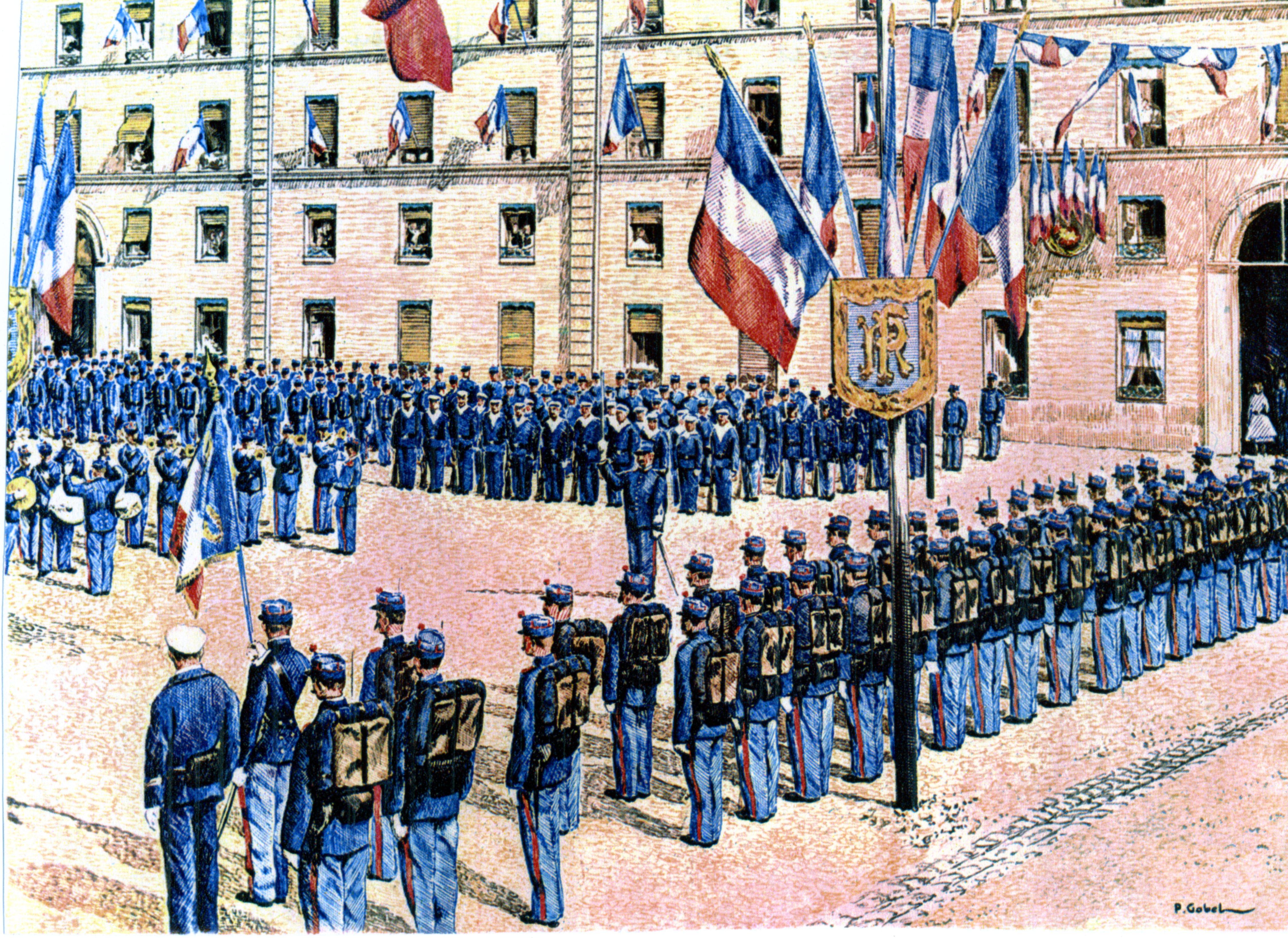 Cérémonie à la caserne, début du XXe siècle tableau de Gobel d'après une carte postale.